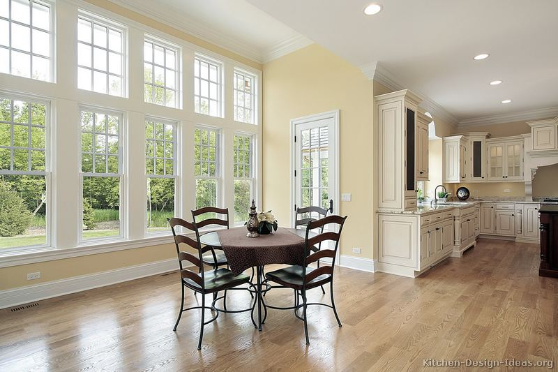 Pictures of kitchens traditional two tone kitchen for Kitchen designs with two windows