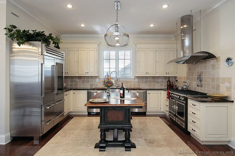 HotTrendsToday84977 Antique White Kitchen Dark Floors 2 Images