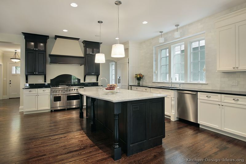 Black And White Traditional Kitchen pictures of kitchens - traditional - black kitchen cabinets