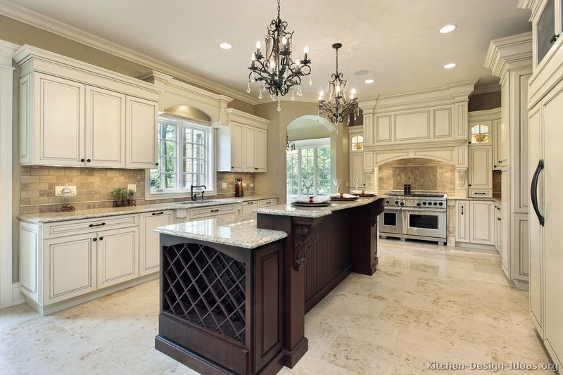 Pictures of kitchens traditional two tone kitchen for Luxury kitchen layout