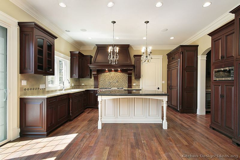 White kitchen cherry wood island home design and decor for Traditional flooring