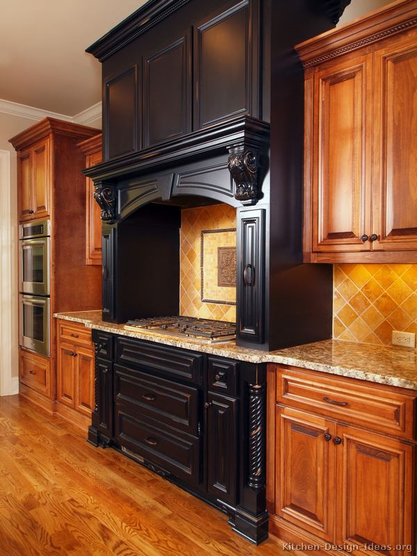 Pictures of kitchens traditional black kitchen cabinets for Black and brown kitchen cabinets