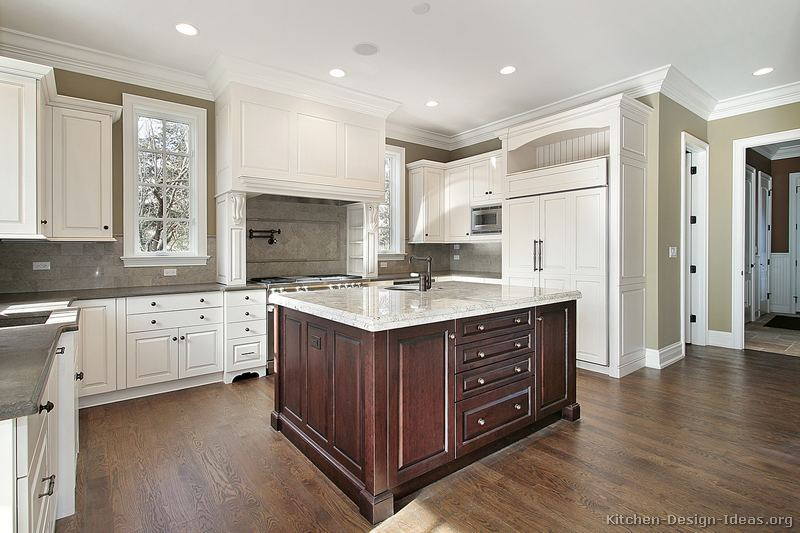 Traditional White Kitchen : white and dark kitchen cabinets - Cheerinfomania.Com