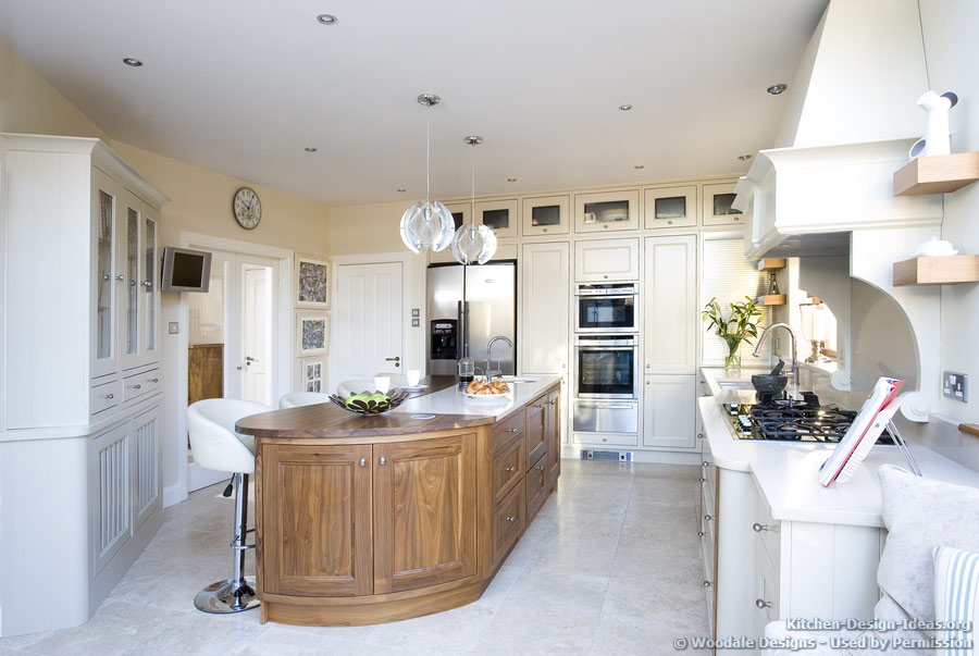 A Creamy White and Walnut Wood Kitchen by Woodale Designs