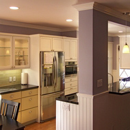 Green and White Kitchen, Pass Through Window - Designer Kitchens LA