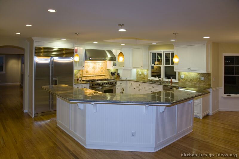 Pictures of kitchens traditional white kitchen for Large kitchen island plans