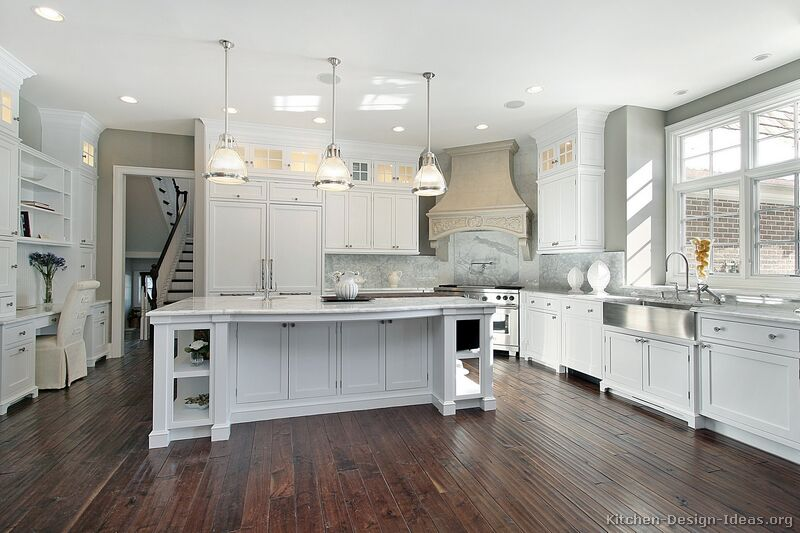 Pictures of kitchens traditional white kitchen for Kitchen ideas grey and white