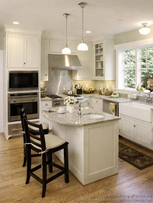 Pictures of kitchens traditional white kitchen for Small kitchen layout with island