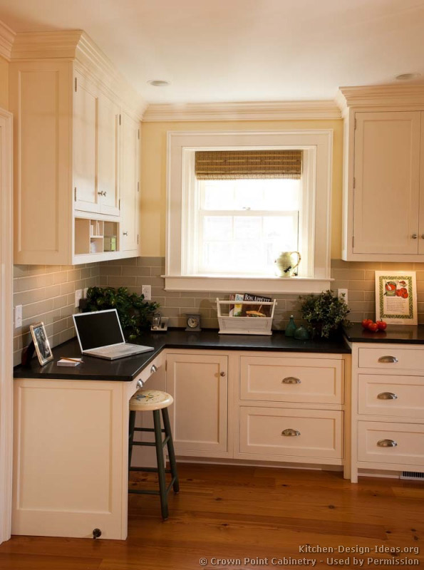 Pictures of kitchens traditional white kitchen for Desk in kitchen ideas
