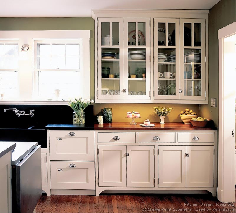 Green kitchens walls images for White kitchen cabinets