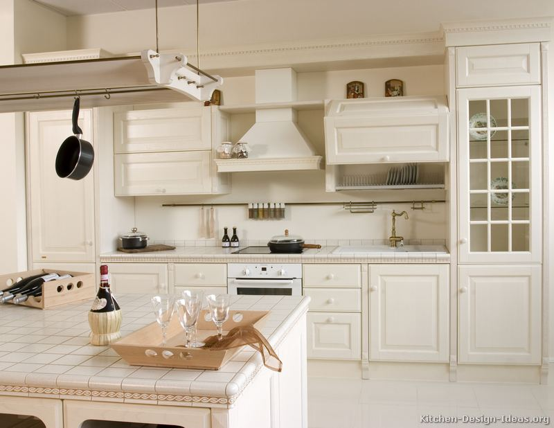 Pictures of kitchens traditional white kitchen for Kitchen cabinet countertop ideas