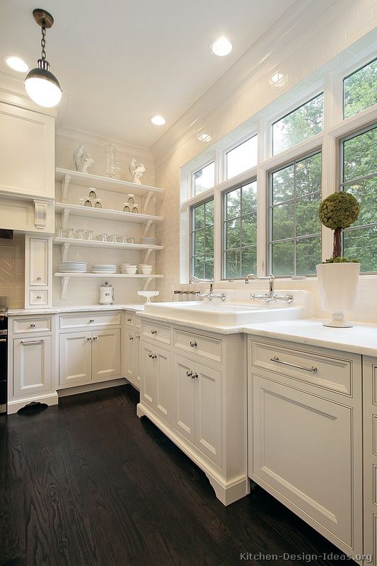 Cottage kitchens photo gallery and design ideas for White kitchen cabinets with hardwood floors