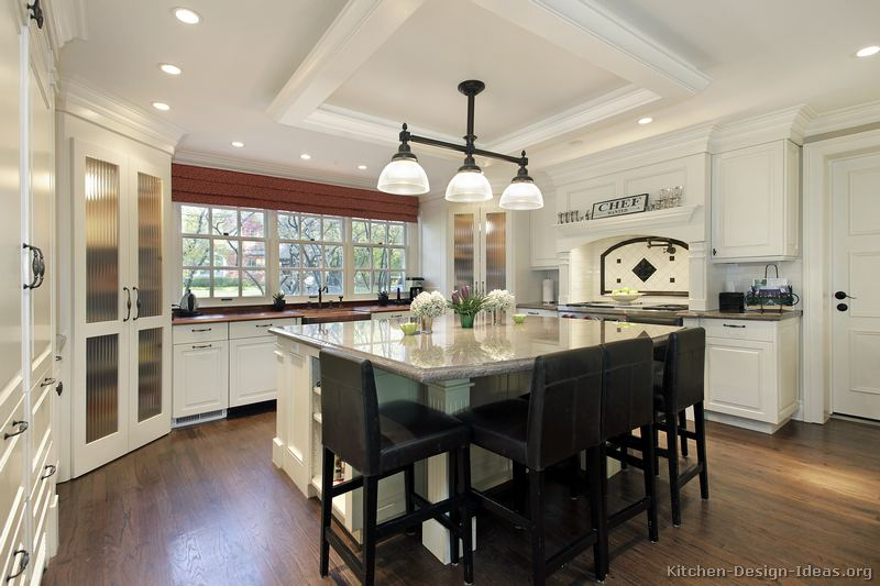 Pictures of kitchens traditional white kitchen for Kitchen plans with island and pantry