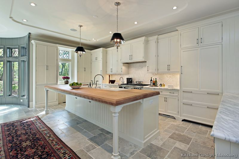 Pictures of kitchens traditional white kitchen for White kitchen cabinets with white marble countertops