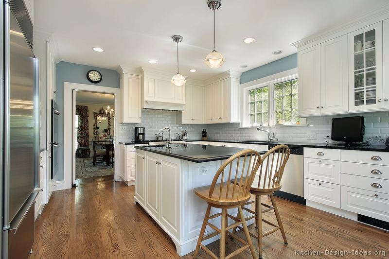 White Kitchen Cabinets Light Blue Walls