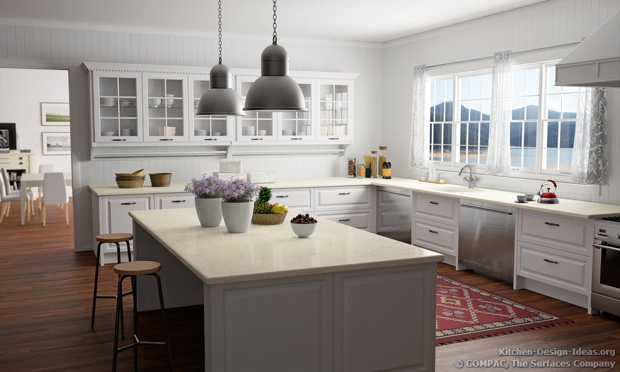 Kitchen with White Cabinets and Quartz Countertops