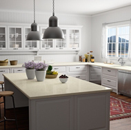 A Traditional White Kitchen with a Lake-Front View and Compac Quartz Countertops