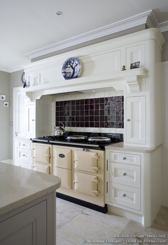 Cream AGA Range Cooker and a Mantel Style Range Hood