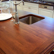 Wood Island Countertop, Prep Sink - Designer Kitchens LA
