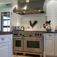 Subway Tile Backsplash Shelf, Wolf Range & Hood - Designer Kitchens LA
