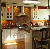 White Cabinets, Diamond Tile Backsplash - Designer Kitchens LA