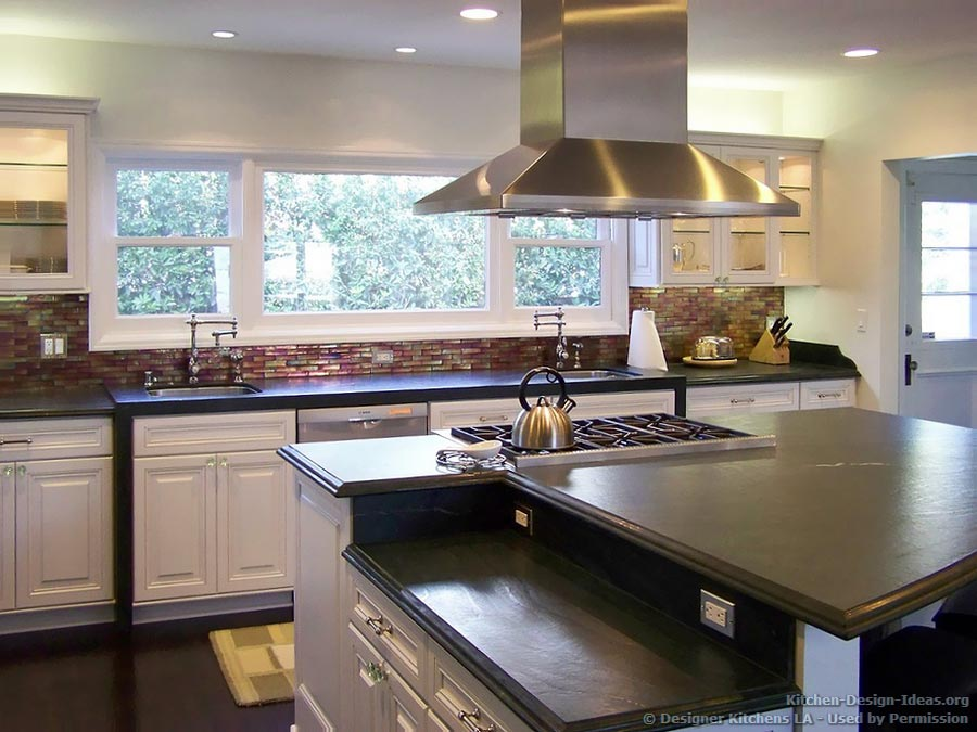 Designer kitchens la pictures of kitchen remodels for Two level kitchen island