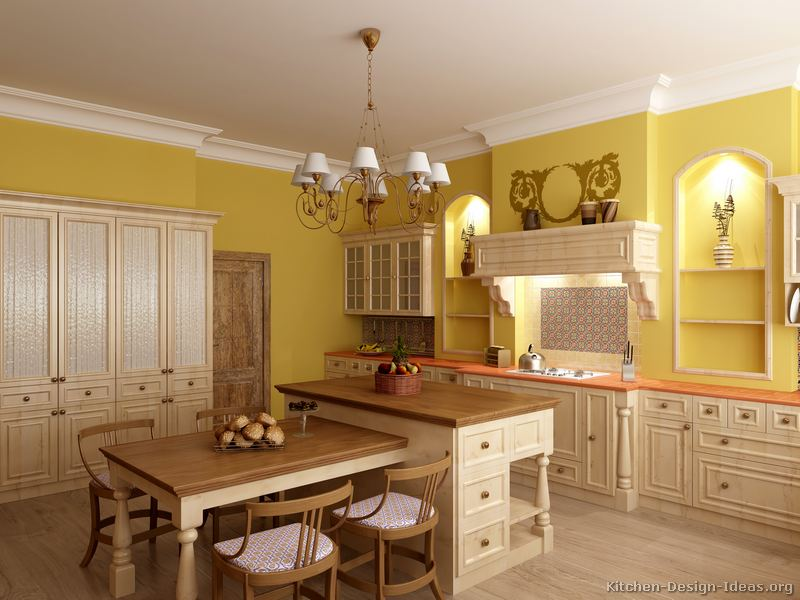Pictures of kitchens traditional whitewashed cabinets kitchen 24 Kitchen design yellow and white