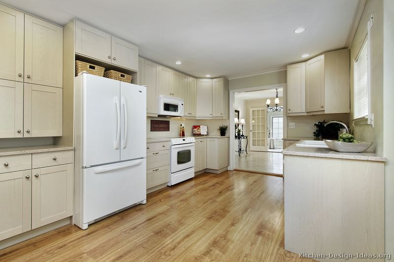 Pictures of kitchens traditional whitewashed cabinets for Kitchen designs with white appliances