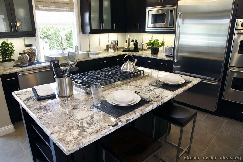 Dark Granite Countertops : black white kitchen cabinets with granite countertops