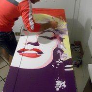 In-Progress Photo (Marilyn Monroe Pop Art Kitchen Mural)