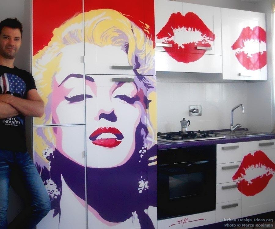 marilyn monroe pop art kitchen mural. Black Bedroom Furniture Sets. Home Design Ideas