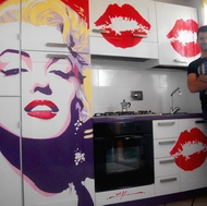 End Result: Marilyn Monroe Pop Art Kitchen Mural