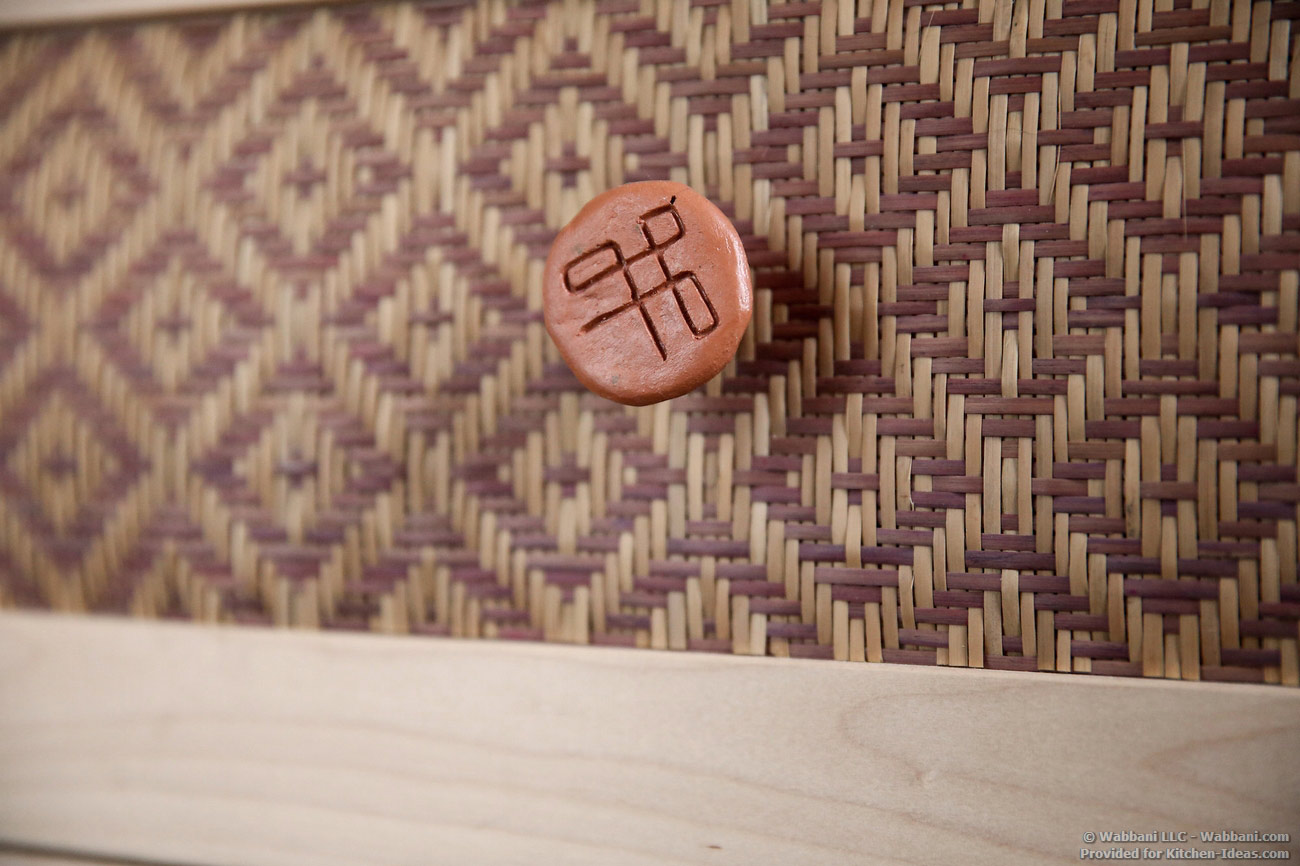 Handwoven cabinet panel inserts and riverclay knobs by wabbani for Kitchen designs by clay